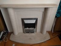 Limestone Fireplace and Electric Fire