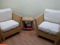 M & S hand crafted Rattan Chairs and table