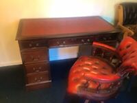 RED OXBLOOD CAPTAINS DESK AND CHAIR