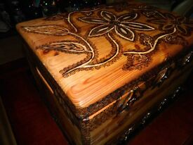 Pyrography wooden box