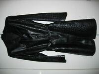 Dolce & Gabbana, Black Crocodile Stamped Leather Coat (Size XL)