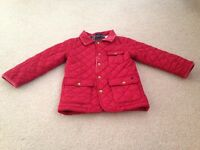 Joules red quilted jacket aged 3