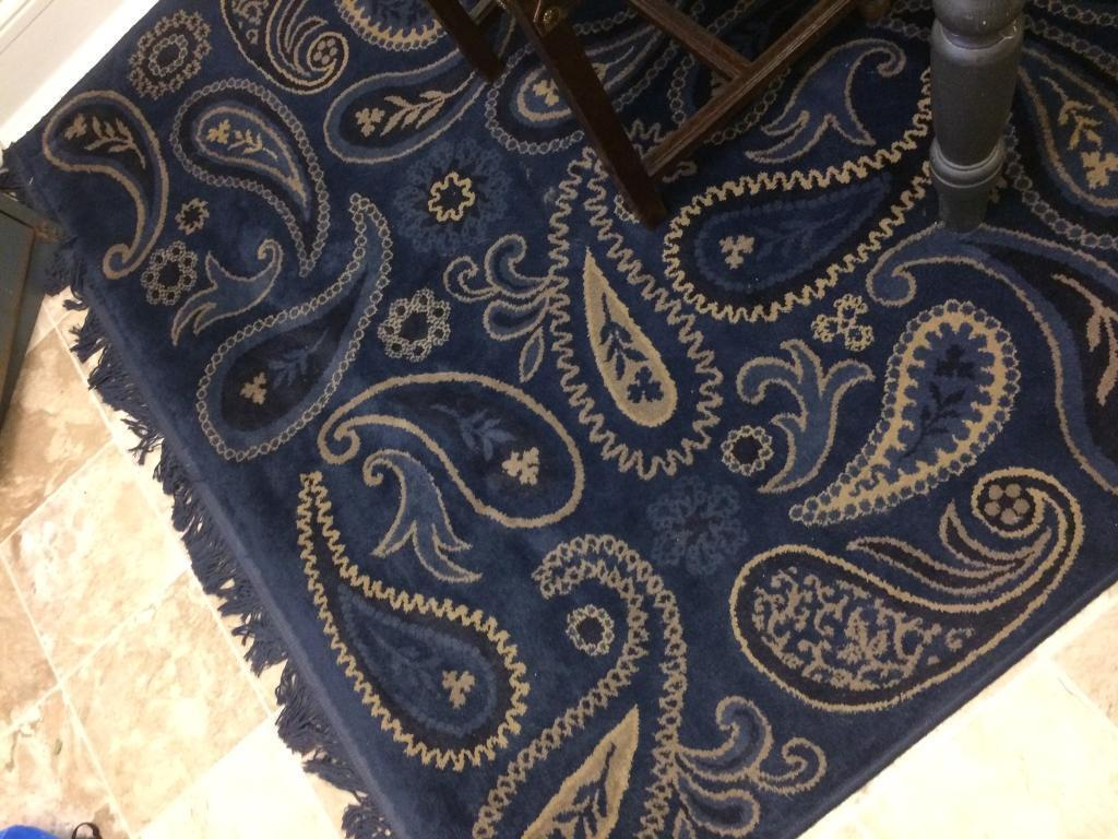 Large 6x8 foot Lovely Condition Navy Blue, Cream & Brown Paisley well made IKEA rug