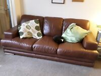 Italyan leather 3 seater sette great condition brown tann