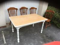Rustic farmhouse dining table & chairs, bargain free delivery