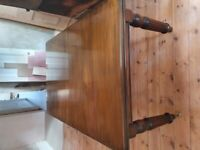 Antique solid mahogany dining table with 6 upholstered chairs