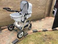 Grey pram baby buggy detachable stroller