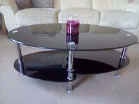 Black glass coffee tv table