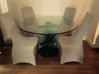 Glass round table and 4 chairs