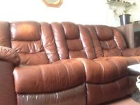 3 piece tan leather sofa, 3,2 and arm chair