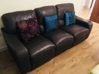 3 seater leather sofa with recliner actions