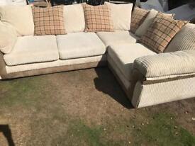 Cord corner sofa. Delivery