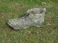 Nice Vintage Cast Stone Boot Garden Planter Garden Pot