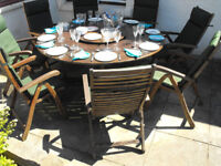 Wooden table, 8 chairs with cushions used, £250