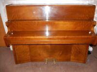 BENTLEY COMPACT UPRIGHT PIANO, 1957 MODEL IN HIGH GLOSS MAHOGANY FINISH