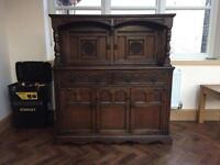 Dark wood court cupboard/cabinet