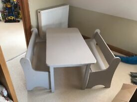 Children's wooden table and bench seats