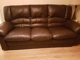 ***SOLD*** - Brown leather sofa and 2 recliner chairs