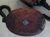 2 - 12 Inch Antique Nautical Ship Block & Tackle