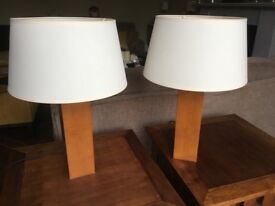 2 x Solid Wooden Table Lamps - Laura Ashley
