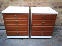 Pair of white/ medium coloured wood bedside chest of 4 draws £40 pair