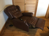 SHERBORNE LYNTON BROWN LEATHER ELECTRIC RECLINER CHAIR