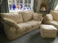 3 and 2 seater sofas and foot stool