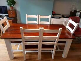 Solid teak dining table + 6 chairs Victoriana