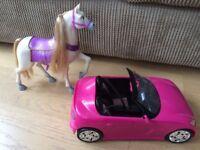 Barbie sports car and Maximus the horse