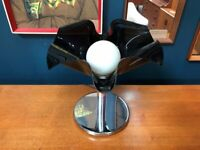 SAFE DELIVERY AVAILABLE - Vintage Black, White & Chrome 1970s Flower Table Lamp. Retro Mid Century