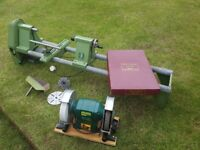 "Elektra Beckum HDM1000 Wood Lathe, Robert Sorby Tools and 8"" Record Grinder."