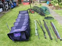 JOB LOT: GAS STOVE, RODS AND REELS, KEEP NET AND LANDING NETS