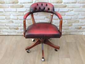 Ox Blood Captains Swivel chair (Delivery)