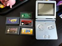 Gameboy Advance SP with 5 games