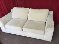 LARGE 2 SEATER BEIGE FABRIC SOFA,CAN DELIVER