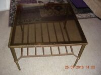 Heavy Brass and Glass Coffee Table