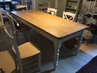 Pine topped dining table with John Lewis chairs