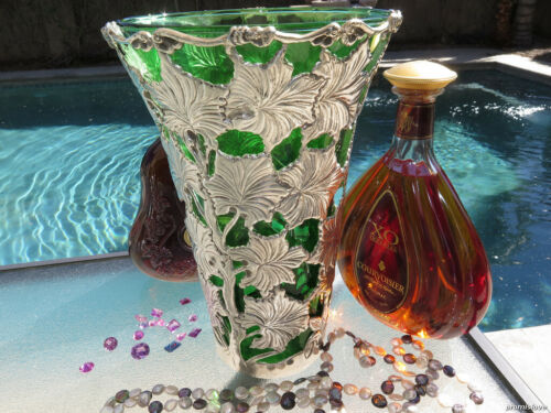 OLD LARGE GREEN GLASS VASE STERLING SILVER AMERICAN HAND BLOWN LEAVES HANDMADE