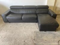 Black dfs leather corner sofa bed, couch, suite, furniture 🚛🚚🚛