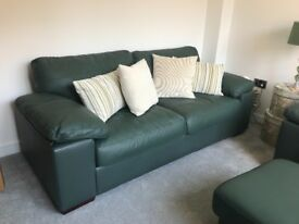 Like New Harvey's Leather Sofa, Armchair & Footstool Set