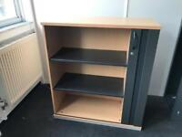 Cabinet with shelves and sliding door