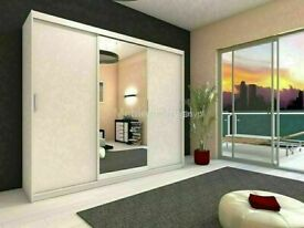 🔵💖🔴DON'T MISS BLACK SALE🔵💖🔴BERLIN 2 DOOR SLIDING WARDROBE FULL MIRROR SHELVES & DRAWERS