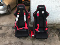 Pair of Corbeau DFX Fixed Back bucket of seats with rails to suit honda civic ep3 type r