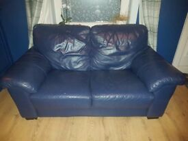 Blue 2 seater leather sofa