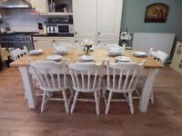 LARGE PINE FARMHOUSE DINING TABLE & 8 PINE CHAIRS