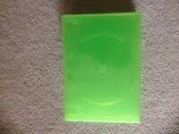 9x Single green dvd cases. Standard 14mm dvd cases