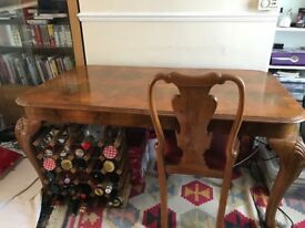 Queen Anne style Pear Wood Dining Table with 8 chairs (Can be extended with leaf)