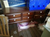 Large wide chest of drawers solid wood. Suit upcycling. B