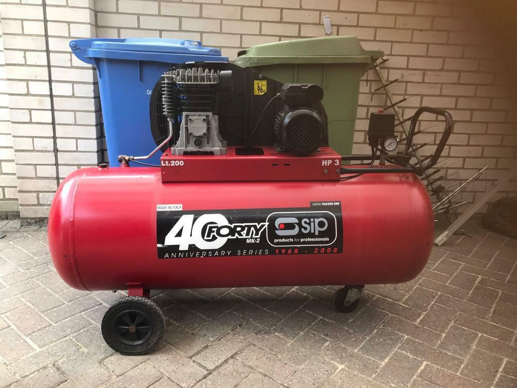 Sip 200 Litre air compressor for sale hardly used 200l compressorin Norwich, NorfolkGumtree - 200 litre sip compressor for sale hardly used in very good working condition brought in 2012 used about a dozen times200 litre tank14CFM10 bar working pressure3HP motor230VCash on collection sensible offers welcome