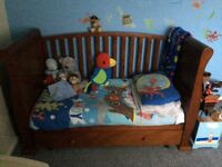 Sleigh Cot-bed wardrobe and changing unit